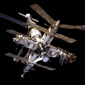 STS-81 - Mir space station as seen during docking.