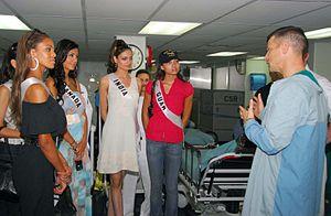 Samantha Tajik - Tajik, with other Miss Universe contestants, tours USNS ''Mercy'' off the coast of Vietnam