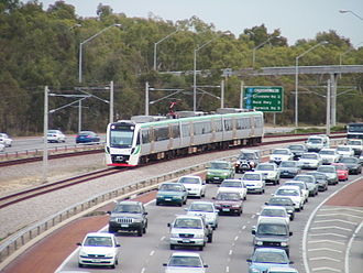 Joondalup railway line - B-series train on the Mitchell Freeway median strip in October 2006