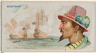 Daniel Montbars - Image: Montbars, Fight with Spanish Men of War, from the Pirates of the Spanish Main series (N19) for Allen & Ginter Cigarettes MET DP835010