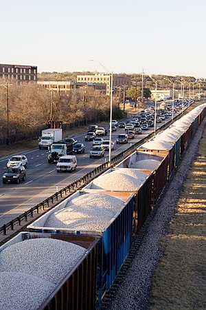 Texas State Highway Loop 1 - A stretch of Loop 1 in Austin. The Union Pacific railway is visible in the foreground.