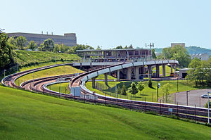 Morgantown Personal Rapid Transit - PRT track and station (background)