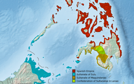 Approximate historical extent of the Muslim sultanates of Sulu, Maguindanao and Lanao in the 19th century Moro Sultanates (Philippines).png