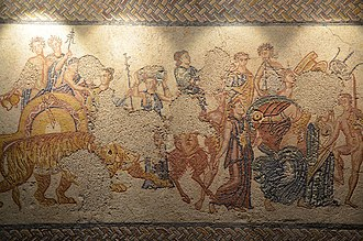Villa of Torre de Palma - Image: Mosaic panel depiciting the Triumph of Bacchus, from the Villa Torre de Palma near Monforte, 3rd 4th century AD, National Archaeology Museum of Lisbon, Portugal (12973986513)