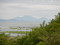 Laguna de Bay at Cardona, with the Banahaw volcano complex in the distance