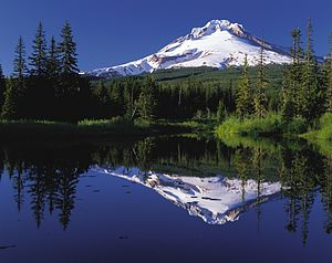 Mirror image - Mount Hood reflected in Mirror Lake water.
