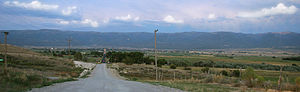 Mount Pleasant, Utah - Panoramic view of Mt. Pleasant looking east along Highway 116