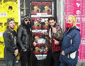 Merle Allin - Merle Allin (second from left) with the Murder Junkies in Germany, 2008