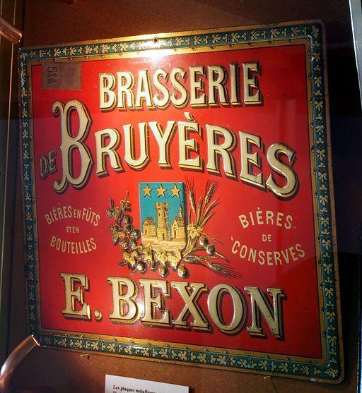 Musée Européen de la Bière - Brasserie de Bruyères, E Bexon, very old enamel advertising sign