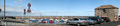 A panoramic view of Fisherrow harbour and its pleasure craft