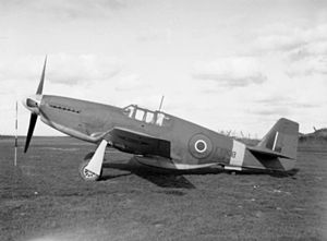 North American P-51 Mustang - A Royal Air Force North American Mustang Mk III (FX908) on the ground at Hucknall