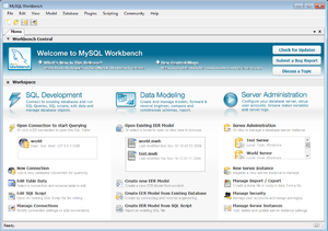 The home screen of the FOSS edition of MySQL W...