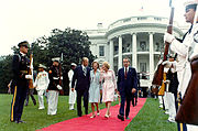 The Fords escort the Nixons across the South Lawn of the White House to the waiting presidential helicopter before Gerald Ford takes the oath of office, August 9, 1974