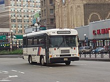 NJ Transit Blue Bird CSFE3000 #608 in Jersey City, New Jersey at Journal Square.