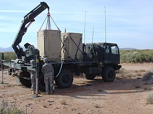 XM501 Non-Line-of-Sight Launch System - Two NLOS-LS CLUs loaded on a truck
