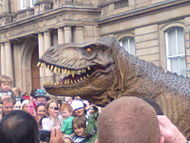 Animatronic Tyrannosaurus Rex entertaining the crowd