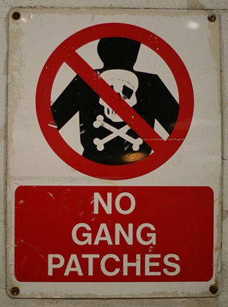 Gangs in New Zealand - Image: NO GANG PATCHES sign on the Cook Strait ferry Arahura's vehicle deck