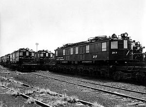 New York Central P Motor - NYC-P locomotives at General Electric, Erie, for electrical modification, 1954