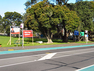 New Zealand general election, 2005 - Election billboards advertise the parties and candidates standing nationwide and in each electorate