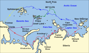 A map of the sea and island archipelagos north of Siberia. Five colored lines indicate the ship's and Nansen's individual routes.