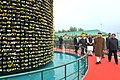 Narendra Modi visiting the orchid display and seasonal flowers exhibition, in Gangtok. The Chief Minister of Sikkim, Shri Pawan Kumar Chamling, the Union Minister for Agriculture and Farmers Welfare.jpg