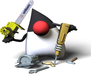 Java Mascot introducing Netbeans.