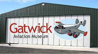 Gatwick Aviation Museum - View plus logo of Hangar at Gatwick Aviation Museum