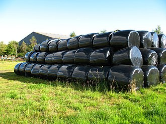 Fodder - Newton of Cawdor stack of bales, sweet-smelling fodder stored for winter
