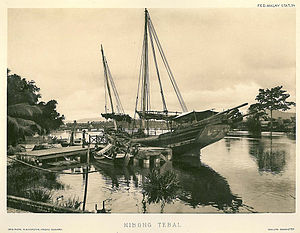 Seberang Perai - A ship anchored off Nibong Tebal in the 1900s.