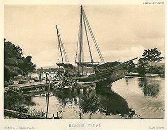 Seberang Perai - A ship anchored off Nibong Tebal in the 1900s.