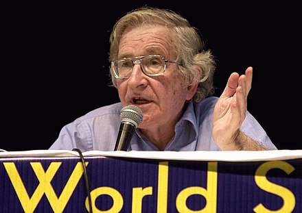 Chomsky at the 2003 World Social Forum, a convention for counter-hegemonic globalization, in Porto Alegre Noam Chomsky WSF - 2003.jpg