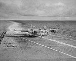 North American AJ-2 Savage of VAH-6 lands on USS Yorktown (CVA-10) on 6 December 1955 (NH 97459).jpg