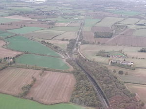 Northampton loop - Aerial photo, looking North, shows where the Northampton loop (right) diverges from the main line (left) at Roade.