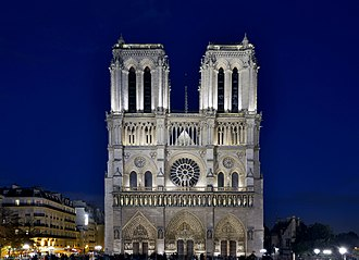 Notre-Dame de Paris - The western facade illuminated at night