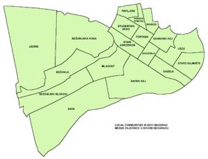 Ušće - Map of Local communities in Novi Beograd