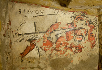 Orcus - Fresco of Odysseus (Uθuste) and the cyclops (Cuclu) in the Tomb of Orcus, Tarquinia, Italy.