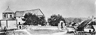 Vepriai - The town center with the church, around 1900