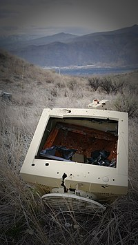Old computer monitor illegally disposed of on Bluegrade Road East Wenatchee Washington 2.jpg