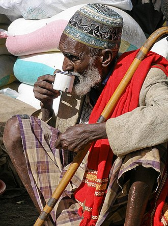 Culture of Somalia - Somali man wearing a macawis sarong.