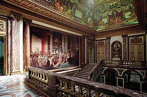 Oldway Mansion - The grand staircase at Oldway Mansion with The Crowning of Josephine by Napoleon after David.
