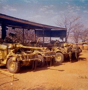 Eland Mk7 - Elands in forward staging areas prior to Operation Savannah.
