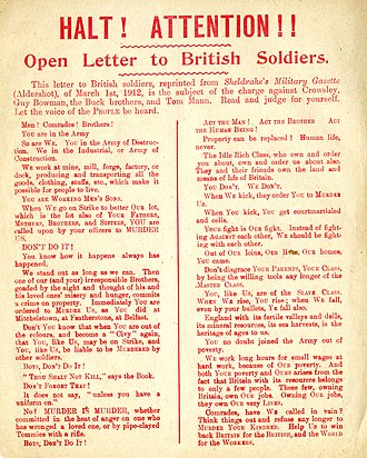 Tom Mann - Image: Open Letter to British Soldiers