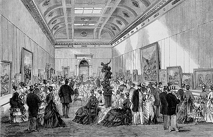 Opening of the McArthur Gallery in 1875, now home to the State Library of Victoria's painting collection Opening of the new fine arts gallery NGV 1875.jpg