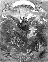 Sous une bannière tendue par deux anges, un chevalier s'avance, lance pointée vers le haut, sur le dos d'une créature volante mi cheval et mi aigle.