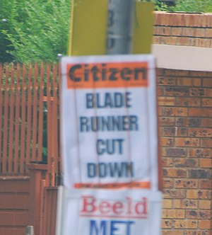 Oscar Pistorius - The South African newspaper The Citizen announcing the IAAF's decision to bar Pistorius from its competitions – photographed in Johannesburg on 16 January 2008