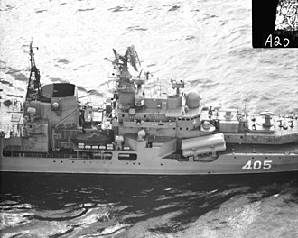 Sovremenny-class destroyer - Midships view.