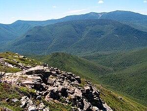 Pemigewasset Wilderness - Looking west from Bondcliff across Owl's Head to Franconia Ridge