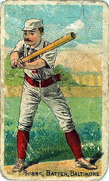 "Color drawing of a man with a mustache in a white baseball uniform, cap, and red socks holding a bat with both hands. Along the bottom text reads ""BURNS, BATTER, BALTIMORE""."