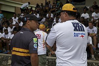 Mal Meninga - Meninga (right) with Adrian Lam during his tenure as coach of the Prime Minister's XIII in 2012.