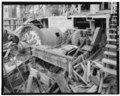 PRIMARY MILL AND CLASSIFIER No. 2 FROM NORTHWEST. MILL DISCHARGED INTO LAUNDER WHICH PIERCED THE SIDE OF THE CLASSIFIER PAN. WOOD LAUNDER WITHIN CLASSIFIER VISIBLE (FILLED WITH HAER SD,41-LEAD.V,1-70.tif